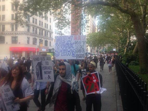 Protesters marched past City Hall to call attention to New York elected officials' support for the Israeli attack. (Photo: Alex Kane)