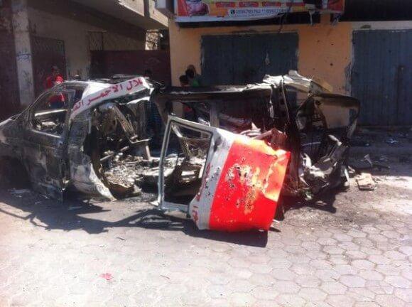 Ambulance destroyed, killing five inside