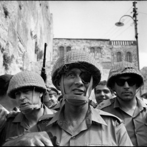 1967: Generals (L to R) Yitzhak Rabin, Moshe Dayan and Uzi Narkis, entering Jerusalem following 1967 war