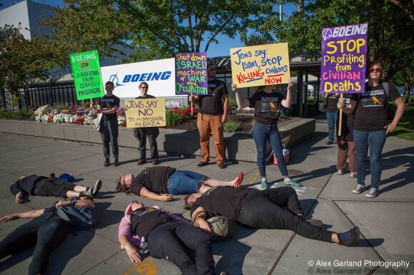 "Palestine solidarity activists hold a ""die-in"" near Boeing offices in Seattle. (Photo: Jewish Voice for Peace)"
