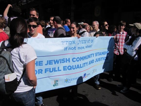 Jewish communal organizations participate in a 2009 march for civil rights in Washington DC.