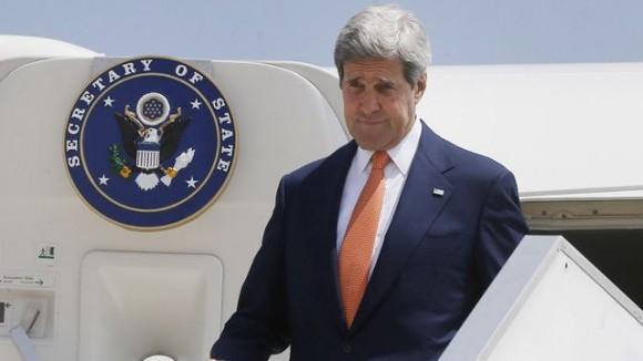 July 23, 2014: U.S. Secretary of State John Kerry arrives in Israel. (AP Photo/Pool)