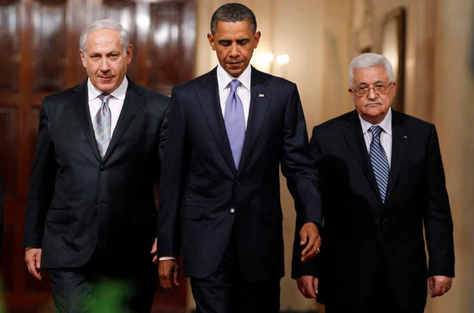Unequal parties to the conflict, the Israeli prime minister, left, and the Palestinian authority president, right