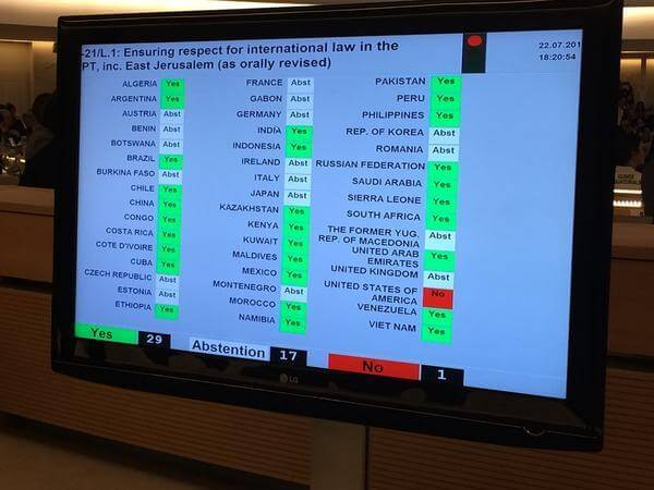 UN Human Rights Council vote for Commission of Inquiry on alleged war crimes in Gaza,  July 23, 2014. (Photo: Twitter)
