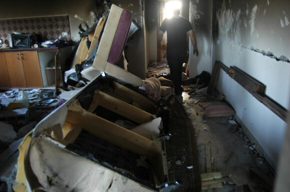 Damage from the explosives used to demolish the Qawasmeh family home, in Hebron. (Photo: Allison Deger)