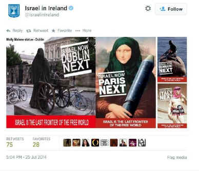 Mona Lisa and other art works featured in Israeli embassy Islamophobic offensive