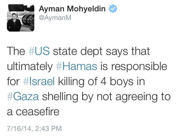 Tweet from Ayman Mohyeldin, subsequently removed