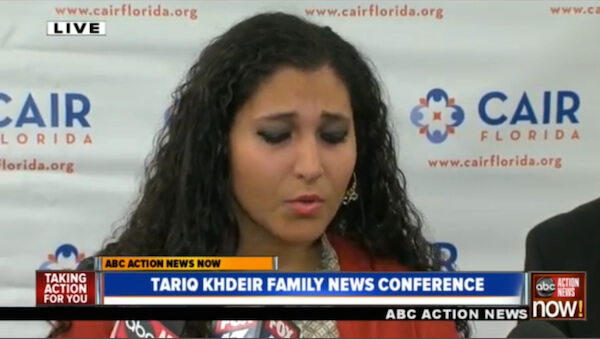 Sana Abu Khdeir addressing the CAIR press conference in Tampa, FL.