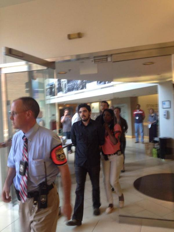 Demonstrators in the lobby of the Phila Jewish Federations offices
