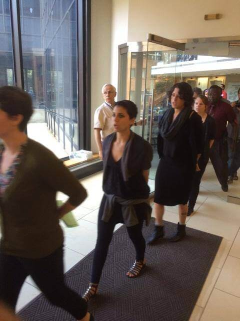 Demonstrators occupy the Federation offices in Philly