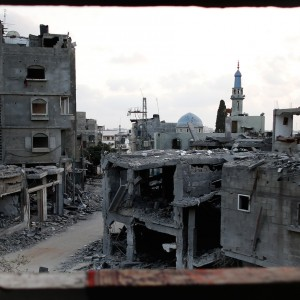 Destruction is seen from the bathroom of a Palestinian apartment in the northern Gaza Strip city of Beit Hanoun, on August 18, 2014. (Photo: Thomas Coex/ AFP/Getty Image)