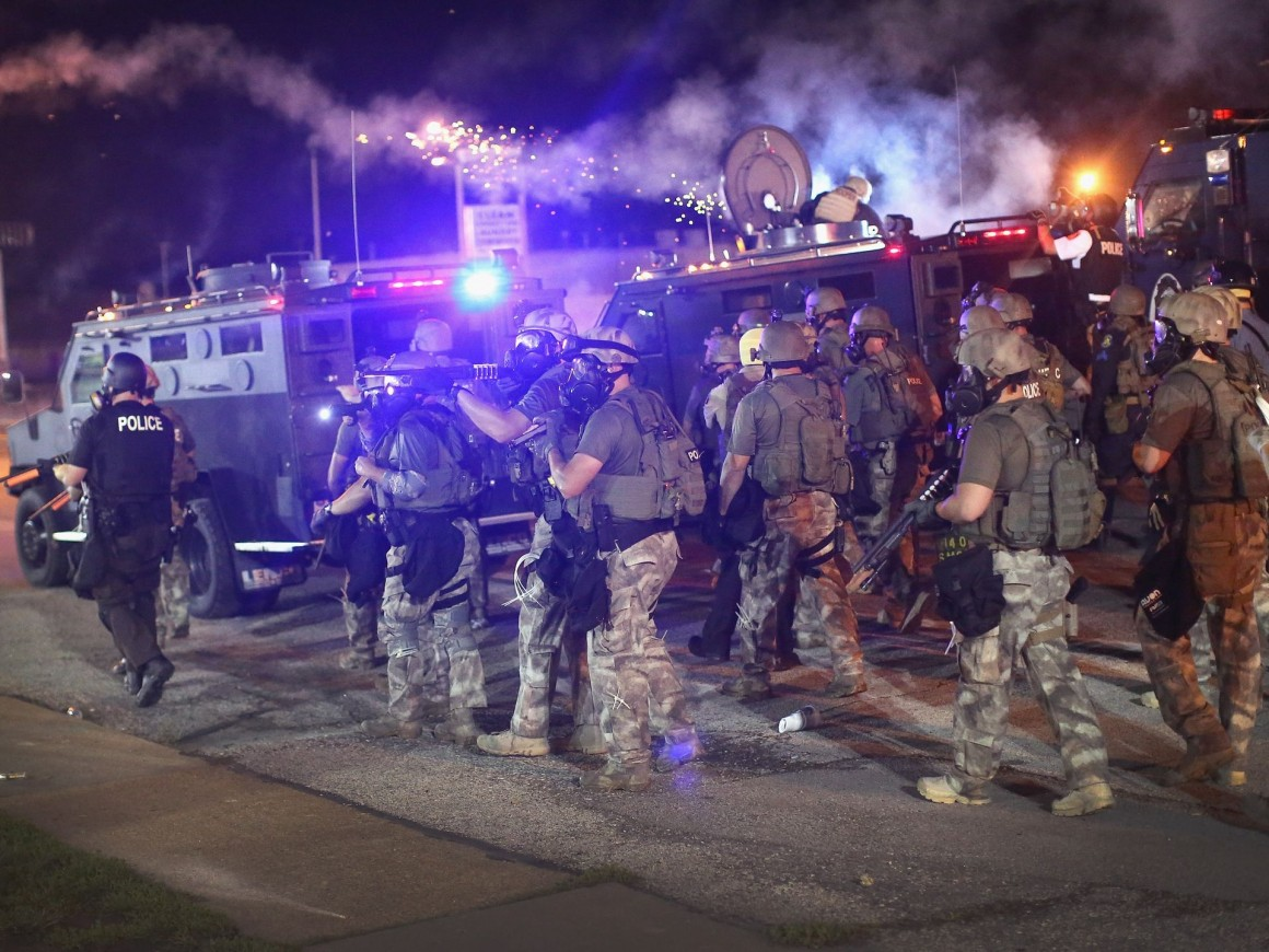 Police in Ferguson, Missouri fire tear-gas at people protesting after the death of 18-year-old Michael Brown. (Photo: Scott Olson/Getty Images)
