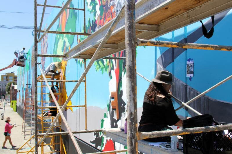 The mural in progress prior to Sunday's dedication. (Photo: Art Force)
