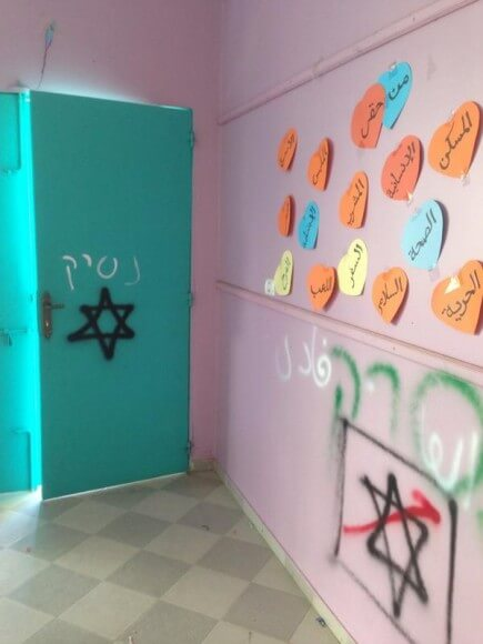 Max Blumenthal's photo of Israeli soldiers' vandalism of school in Khuza'a
