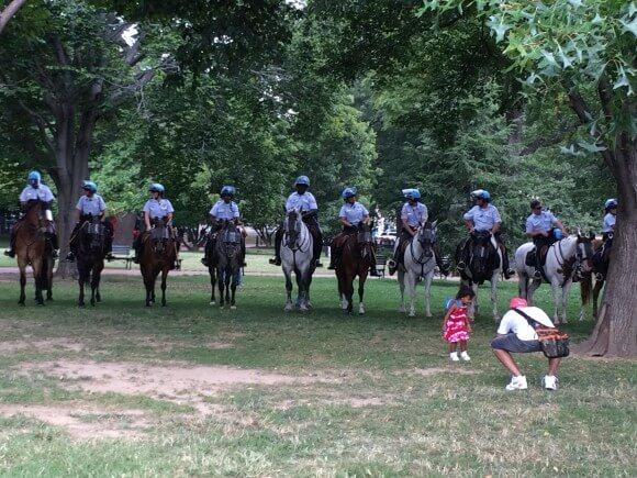 Washington D.C. Police monitor the protest in Lafayette Park. (Photo: Adam Gallagher)