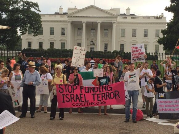 Protesters demand an end to U.S. aid for Israel. (Photo: Adam Gallagher)