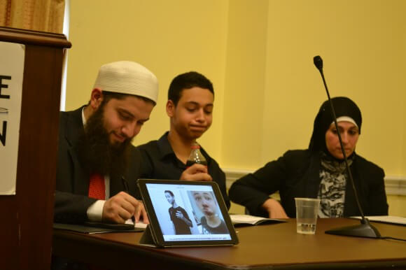 Hassan Shibly, Tariq Abu Khdeir and Tariq's mother Suha, Capitol Hill, August 1