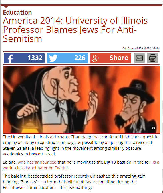 The Daily Caller article on Salaita featured an anti-Semitic graphic that had no relation to any of Salaita's tweets.