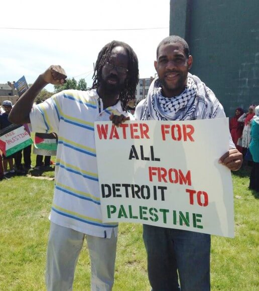 Detroit-based organizers Will Copeland and Dawud Walid, at the Detroit rally in solidarity with Gaza, 13 July 2014
