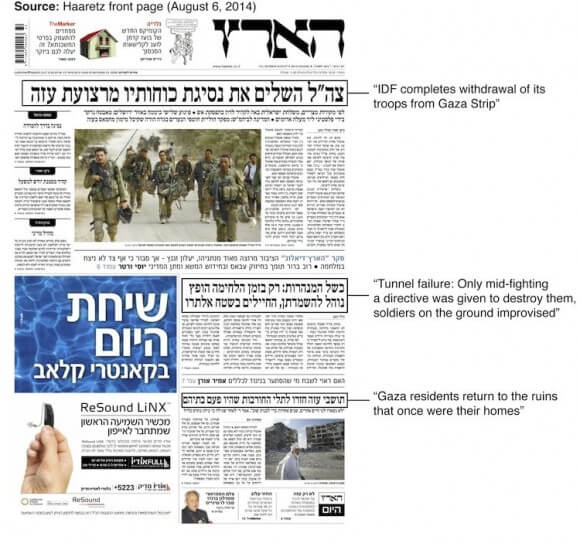 Haaretz on the perceived end of Protective Edge
