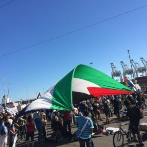 Palestinian-Americans and others carried an enormous Palestinian flag. (Photo: Block the Boat Coalition)