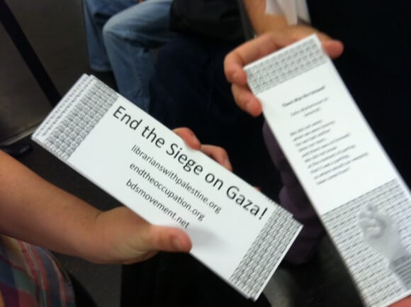 A bookmark given out to New York subway riders. (Photo: Librarians And Archivists With Palestine