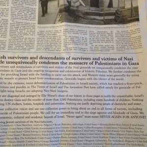 Holocaust survivors printed an ad in the New York Times condemning Israel's attacks on Gaza. (Photo: Alex Kane)
