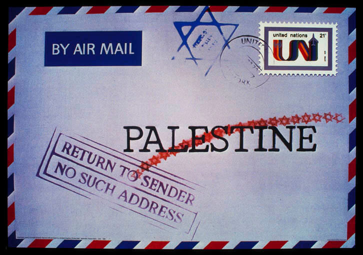 "Return to Sender by Jacek R. Kowalski. This poster won first prize in the 1979 contest ""Palestine: A Homeland Denied,"" which was sponsored by the Iraqi Cultural Centre in London. Image courtesy the Palestine Poster Project Archives."