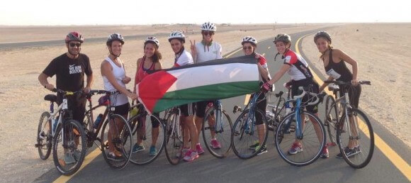 UAE based cyclers training for Cycling4Gaza 2014 at Al Qudra Cycling Track in Dubai August 2014 (photo:C4G)