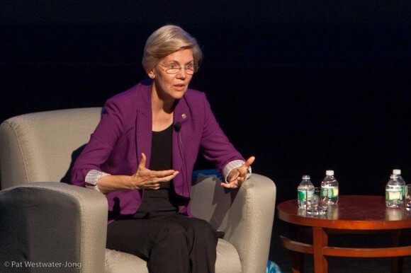 Elizabeth Warren speaking at Tufts University, (c) Pat Westwater-Jong