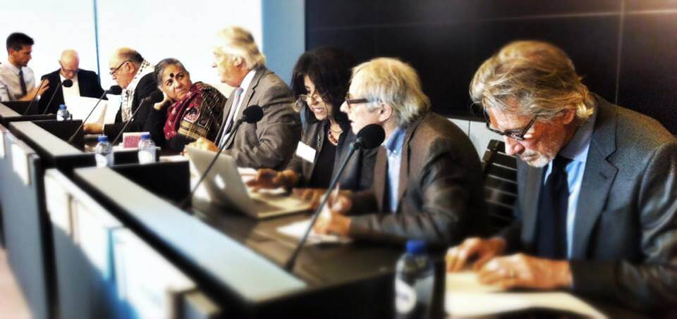 The jury of the Russell Tribunal on Palestine's Emergency Session on Israel's Operation Protective Edge which included Michael Mansfield QC, John Dugard, Vandana Shiva, Christiane Hessel, Richard Falk, Ahdaf Soueif, Ken Loach, Paul Laverty, Roger Waters, Ronnie Kasrils, Radhia Nasraoui  and Miguel Angel Estrella. (Photo: Russell Tribunal on Palestine)