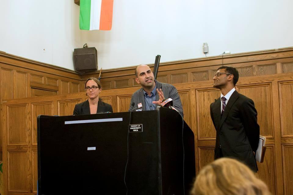 Steven Salaita speaking at the University of Illinois, September 9, 2014. (Photo: Facebook)