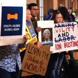 Protesters outside the University of Illinois Board of Trustees meeting. (Image: Twitter)