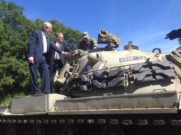 """Rep Steve Israel: """"Inspecting an Israeli M48 tank with [Nassau County executive Ed Mangano] @ Museum For American Armor in Old Bethpage."""""""