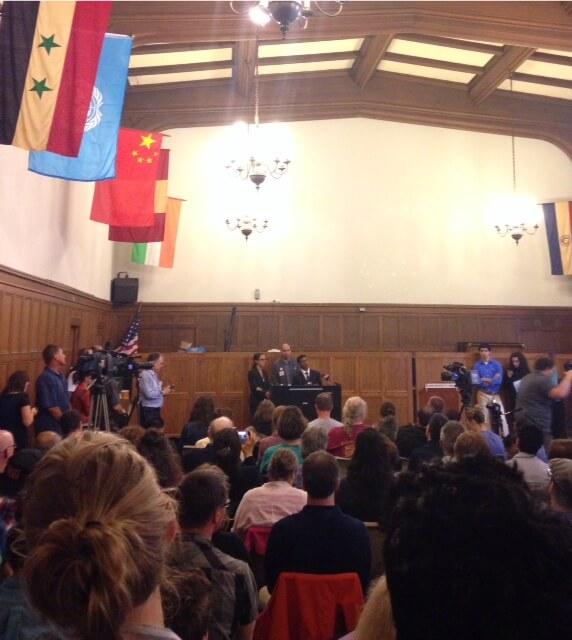 Salaita addresses a press conference. (Photo: Samantha Brotman)