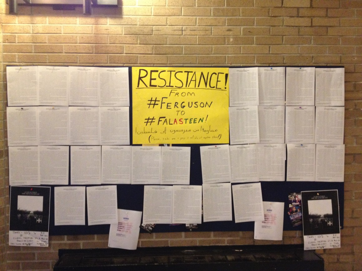 UT Student African American Brotherhood (SAAB) and UT Students for Justice in Palestine (SJP) solidarity statement advertised in the Student Union's free speech board.