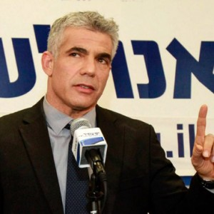 Yair Lapid at his party's headquarters in Tel Aviv. (Photo: Edi Israel/Israel Sun)