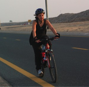 "To be honest all you really need is a helmet and a bike"" Zara Hannoun training for her first C4G cycle. Dubai, 2011"