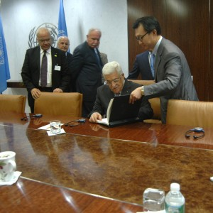 Palestinian Authority President Mahmoud Abbas prepares to meet with Secretary General of the United Nations Ban Ki-Moon, during the United Nations General Assembly, September 24, 2014. (Photo: Allison Deger)