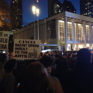 "Protest outside the opening night of ""The Death of Klinghoffer"" at The Metropolitan Opera, Lincoln Center, New York City. (Photo: Max Blumenthal)"