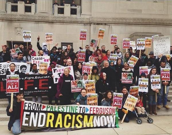 The Palestine contingent at Ferguson October. (Photo: Twitter/@nashalam)
