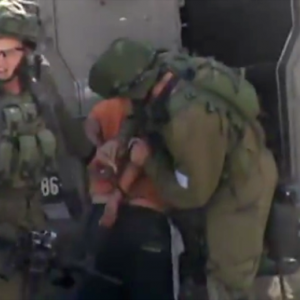 Screen shot: B'tselem Israeli Soldiers detain developmentally-disabled Palestinian child in Hebron, 19 Oct. 2014     Screen shot: B'tselem Israeli Soldiers detain developmentally-disabled Palestinian child in Hebron, 19 Oct. 2014