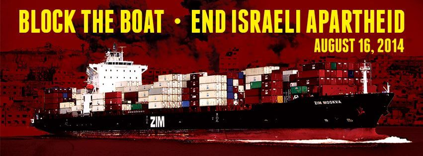 The original Block the Boat graphic from Oakland, August 2014 (Image: Facebook)