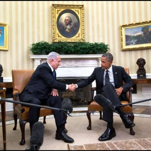 U.S. President Barack Obama meets with Israeli Prime Minister Benjamin Netanyahu on October 1, 2014.