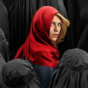 "An ad for the Showtime television show ""Homeland."" As Laura Durkay writes, the hit TV show is currently pitching its fourth season using ""a blonde, white Red Riding Hood lost in a forest of faceless Muslim wolves."" Israel presents itself the same way."
