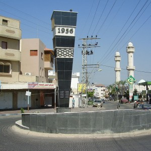 Monument in Kafr Qasim to the victims of the 1956 massacre. (Photo: Wikimedia)