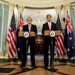 Foreign Minister Bob Carr press conference with US Secretary of State John Kerry on March 18, 2013.