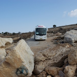 Road block on the way to the Tent of Nations in the West Bank. (Photo: Interfaith Peace-Builders)