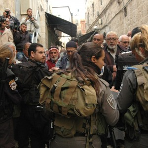 Israeli border police prevent Palestinian worshipers from entering the al-Aqsa mosque compound, November 5, 2014. (Photo: Allison Deger)