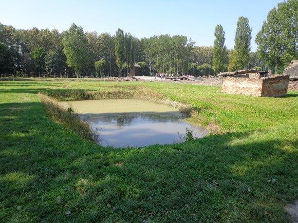 The pond outside Crematorium 2, Birkenau, photo by Scott Roth